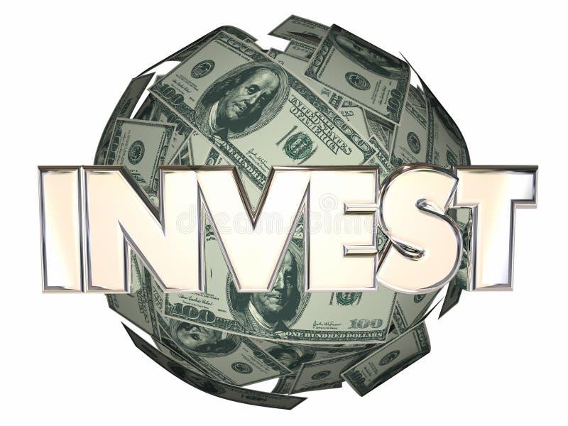 Invista a esfera do dólar de Wall Street do mercado de valores de ação do dinheiro ilustração stock