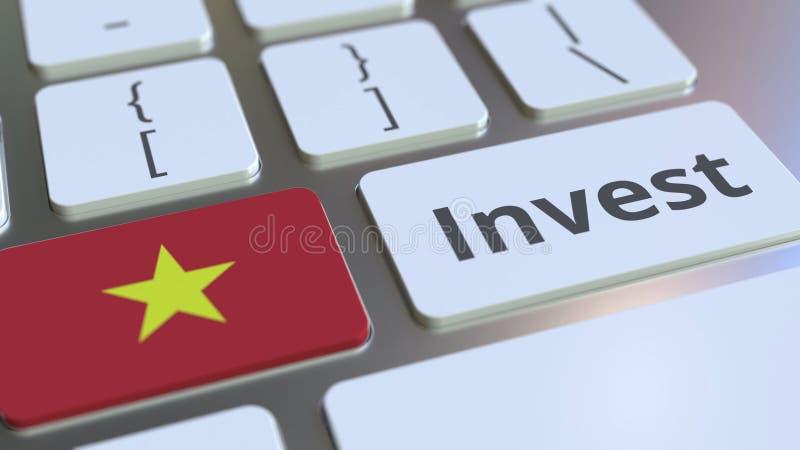 INVISTA o texto e a bandeira de Vietname nos botões no teclado de computador Rendição 3D conceptual relacionada com o mercado ilustração stock