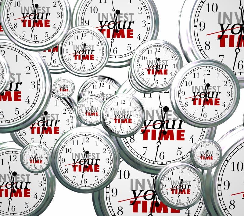 Invista seu tempo muitas tarefas de competência dos trabalhos das prioridades dos pulsos de disparo ilustração stock