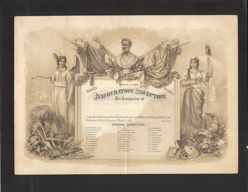 Invitación 1869 de la inauguración de Ulises S. Grant imagenes de archivo