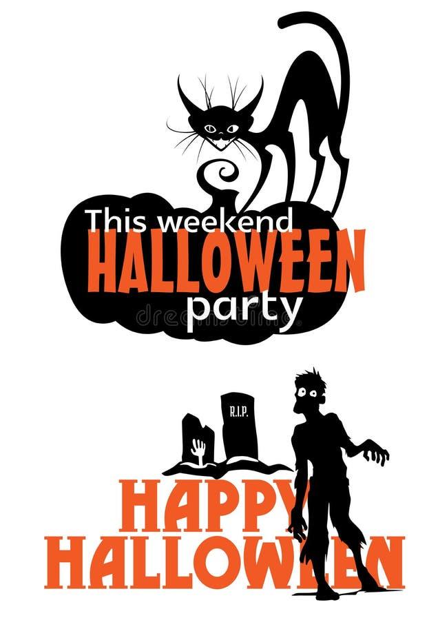 Invitación asustadiza del partido del fin de semana de Halloween stock de ilustración