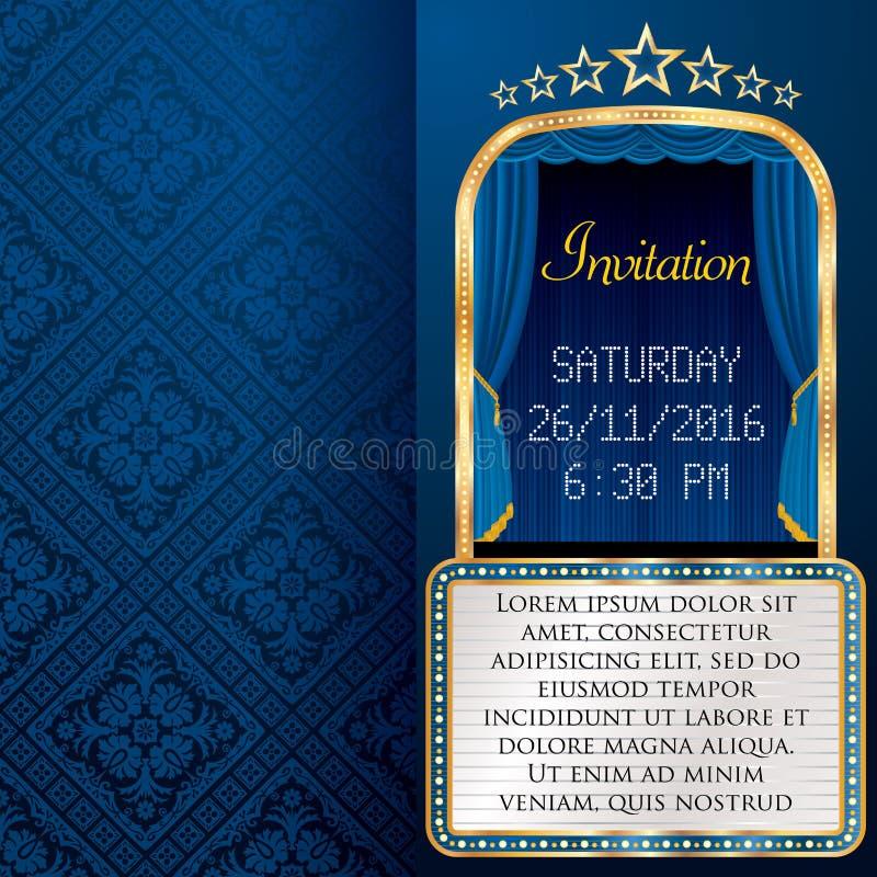 Invitación azul de la cartelera ilustración del vector