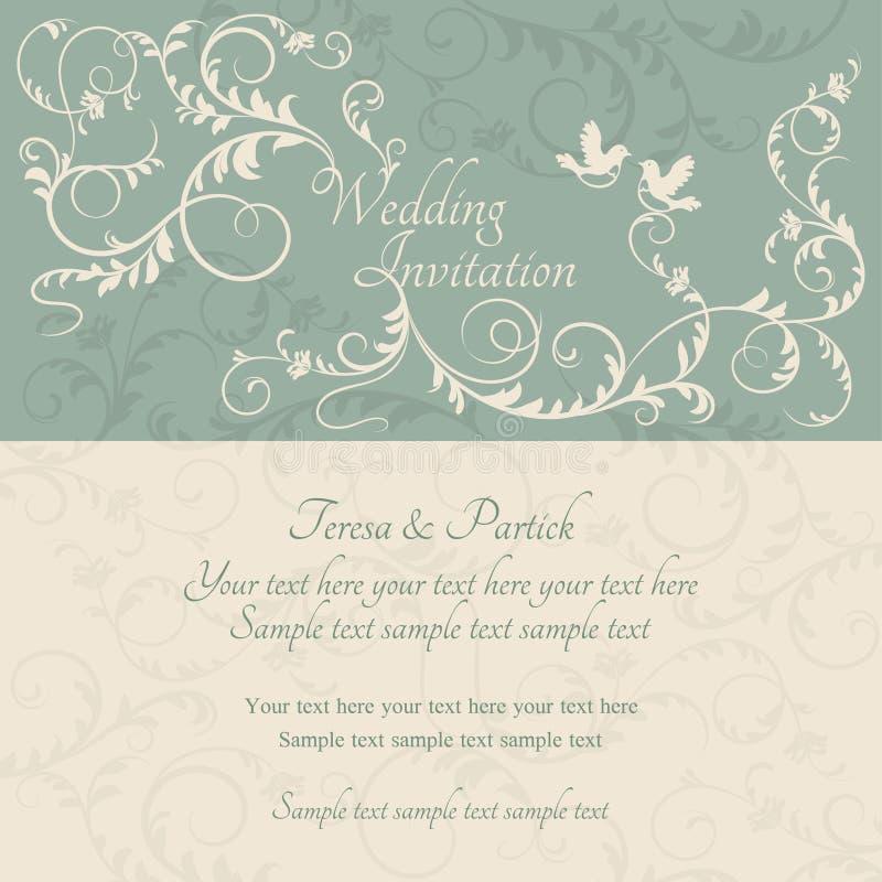 Invitación, azul y beige barrocos de la boda stock de ilustración