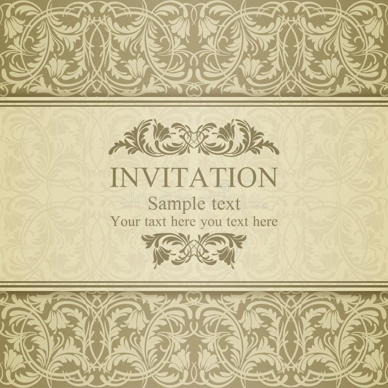 Invitación barroca, beige stock de ilustración