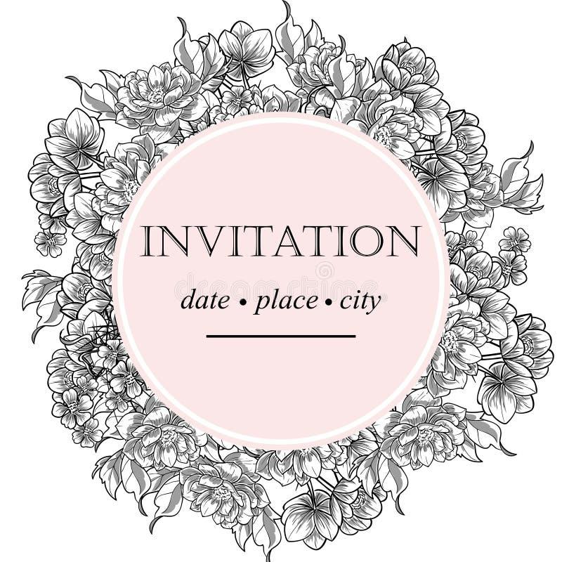 Invitación botánica romántica stock de ilustración
