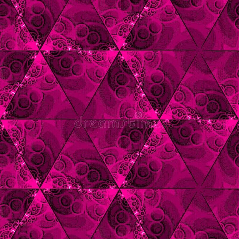 Invitación china del vintage con los triángulos en fondo de la granadina Diseño del remolino del polígono Fondo del mosaico del t stock de ilustración