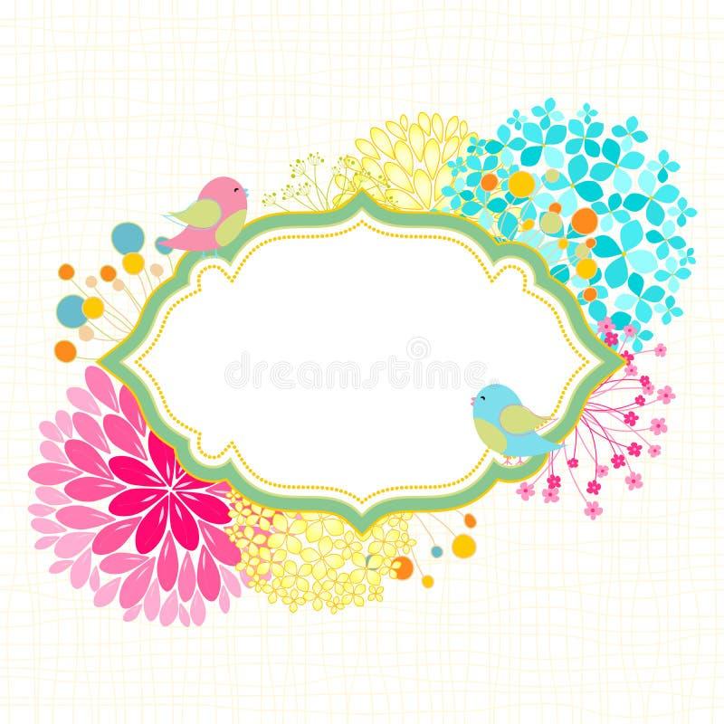 Invitación colorida de la fiesta de jardín del pájaro de la flor stock de ilustración