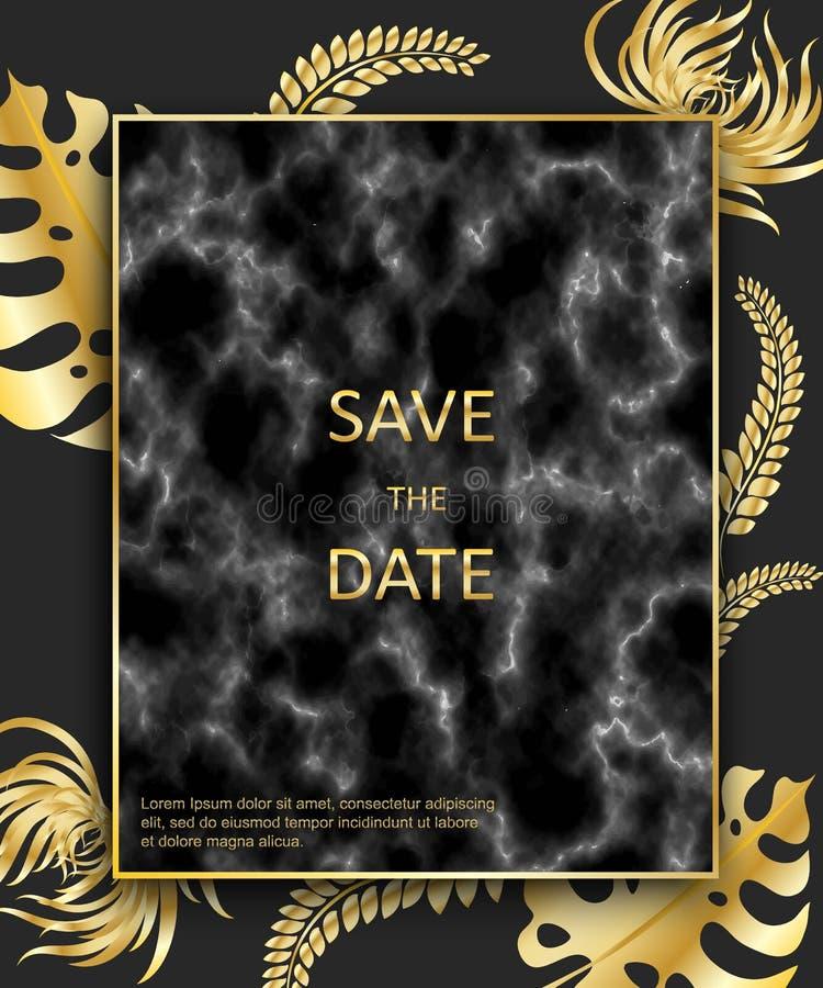 Invitación con las hojas de palma del oro, negro, te de mármol blanco de la boda ilustración del vector