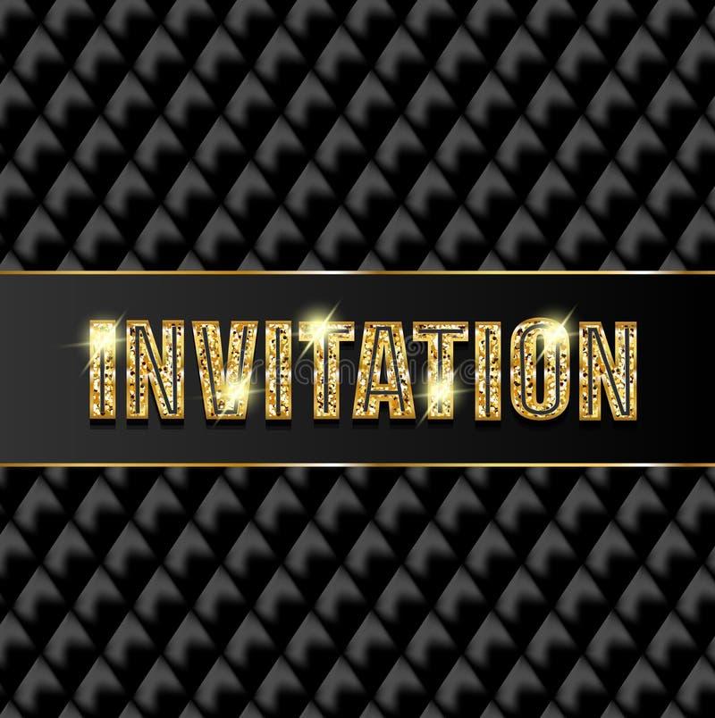 Invitación con las letras del brillo y la corona brillante libre illustration