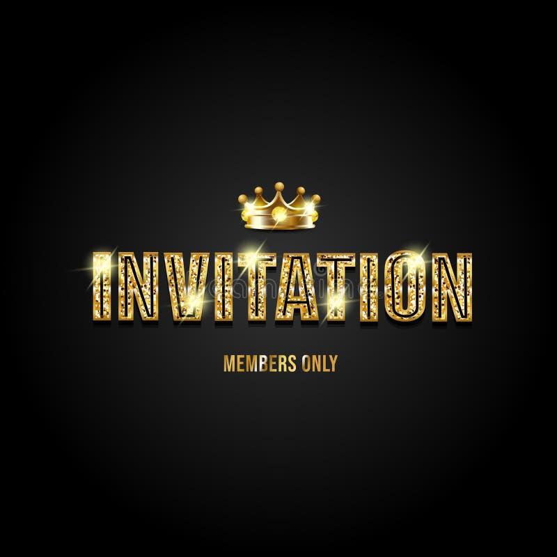 Invitación con las letras del brillo y la corona brillante ilustración del vector