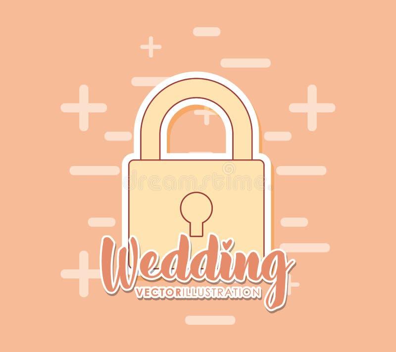 Invitación de boda con el candado libre illustration