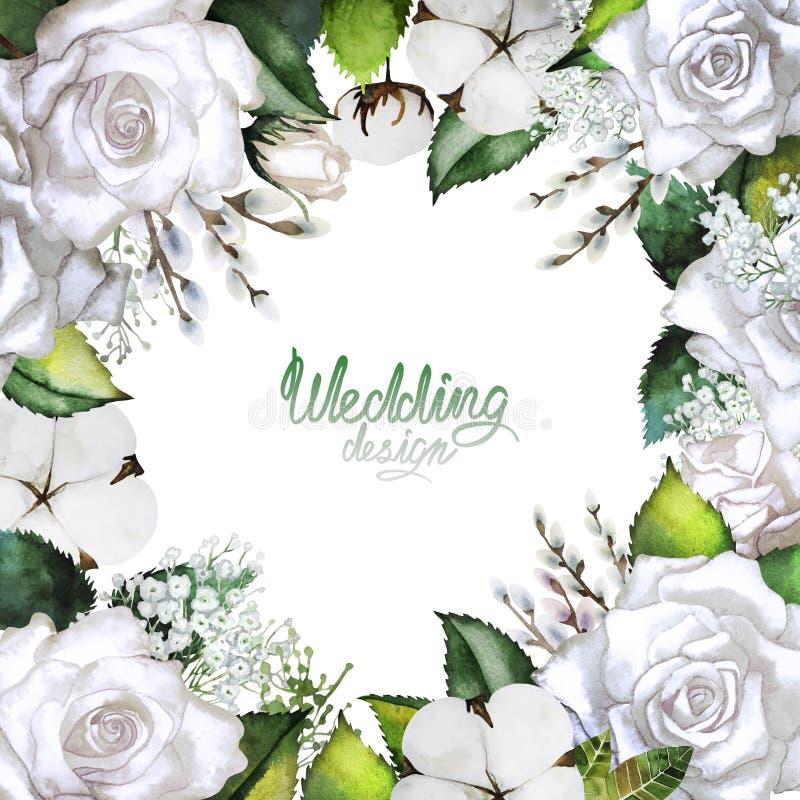 Invitación de boda con el diseño floral blanco libre illustration