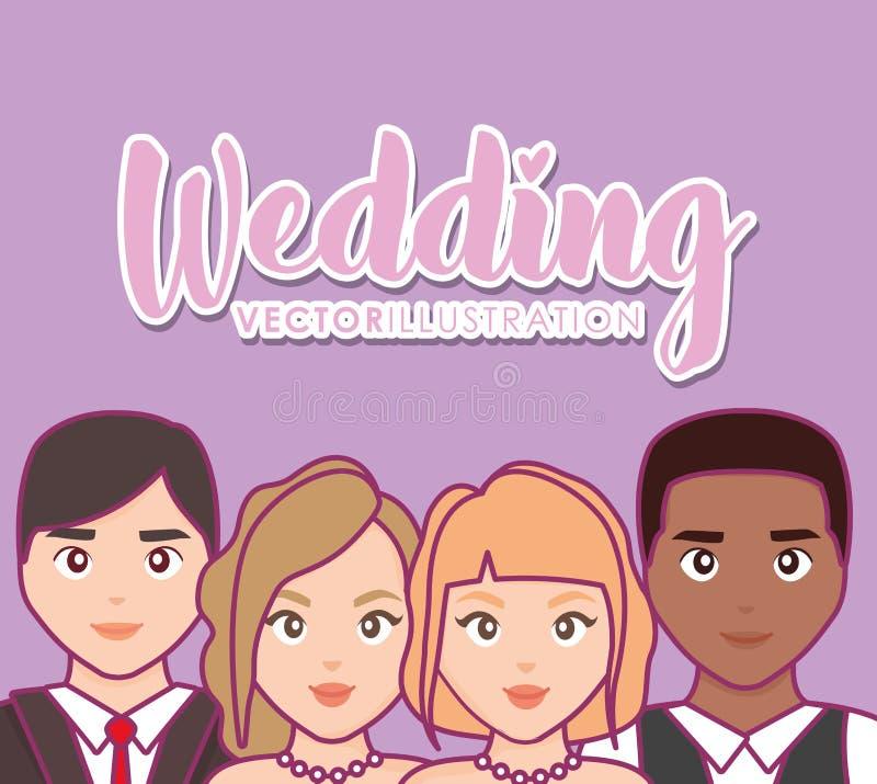 Invitación de boda con el grupo de pares stock de ilustración