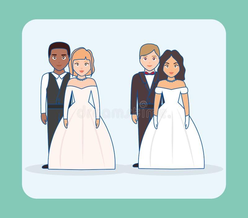 Invitación de boda con el grupo de pares libre illustration