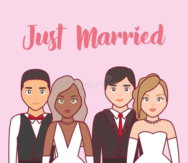 Invitación de boda con el grupo de pares ilustración del vector