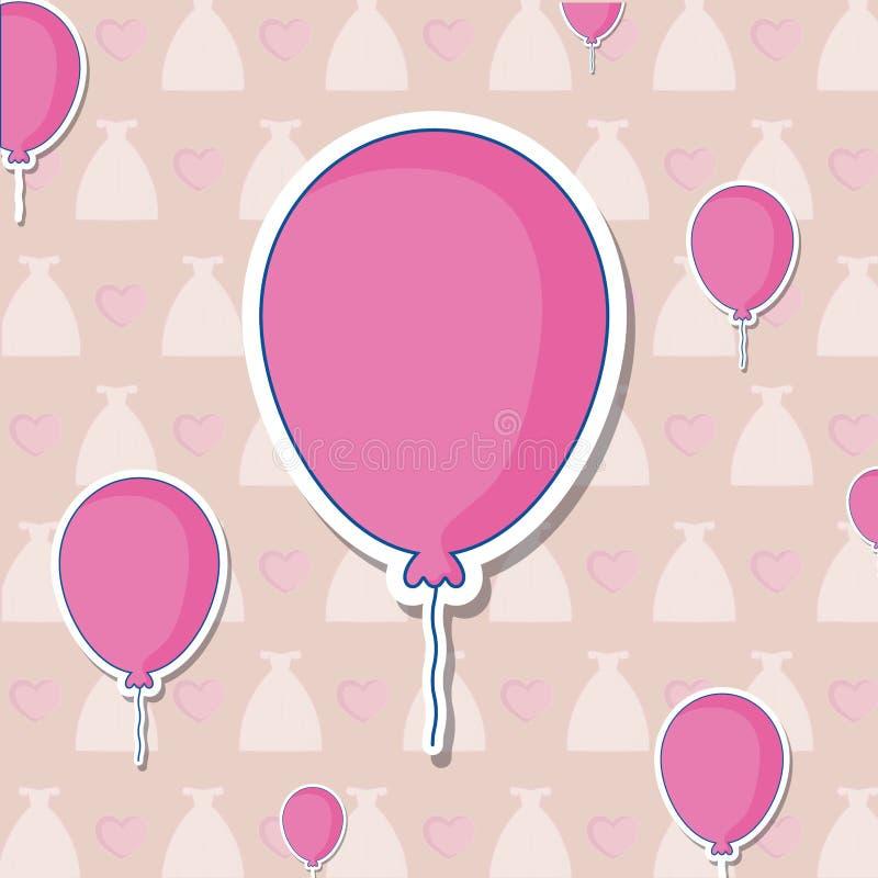 Invitación de boda con helio de los globos libre illustration