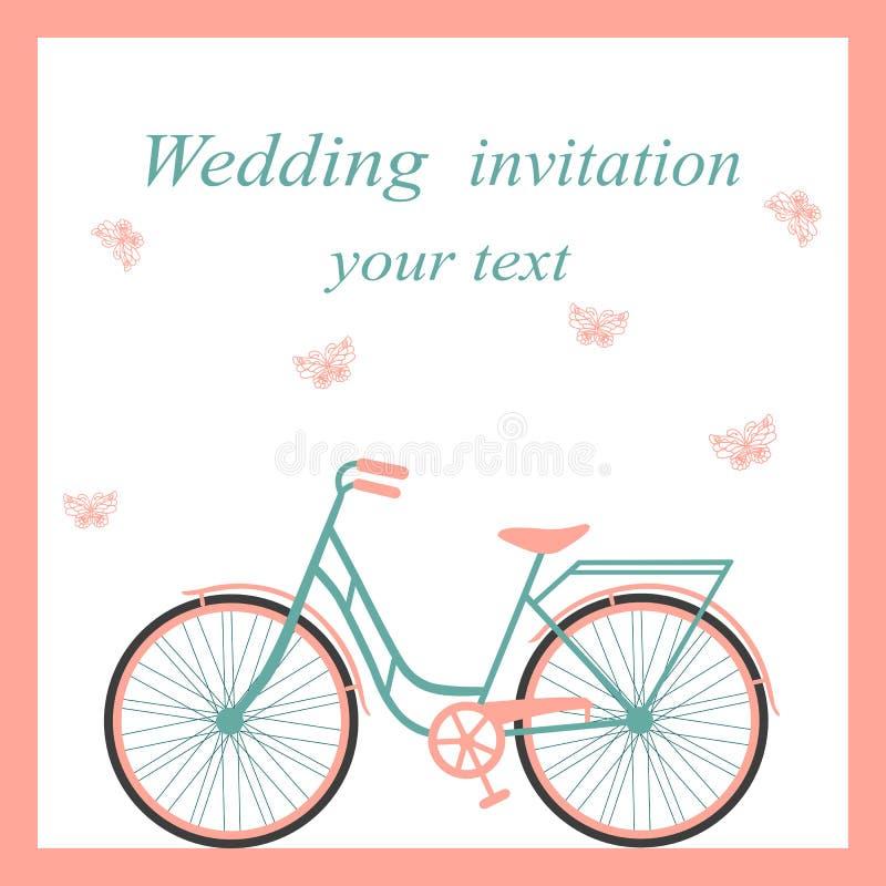 Invitación de boda con la bicicleta y las mariposas stock de ilustración