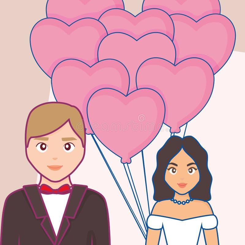 Invitación de boda con la pareja casada ilustración del vector