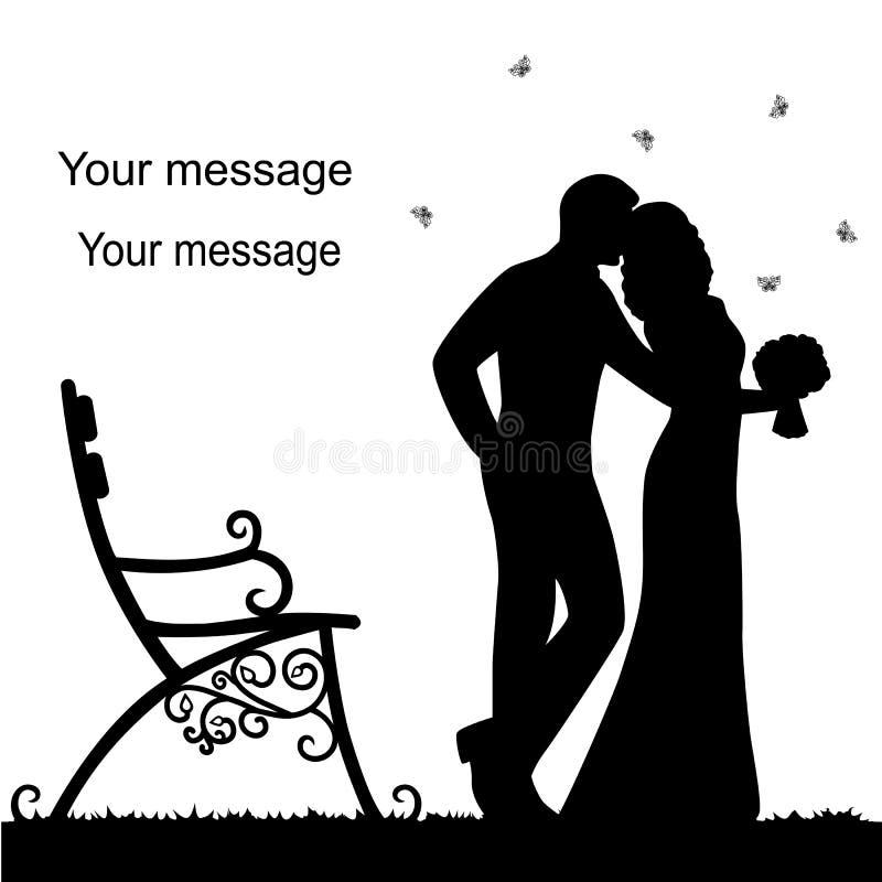 Invitación de boda con los recienes casados libre illustration