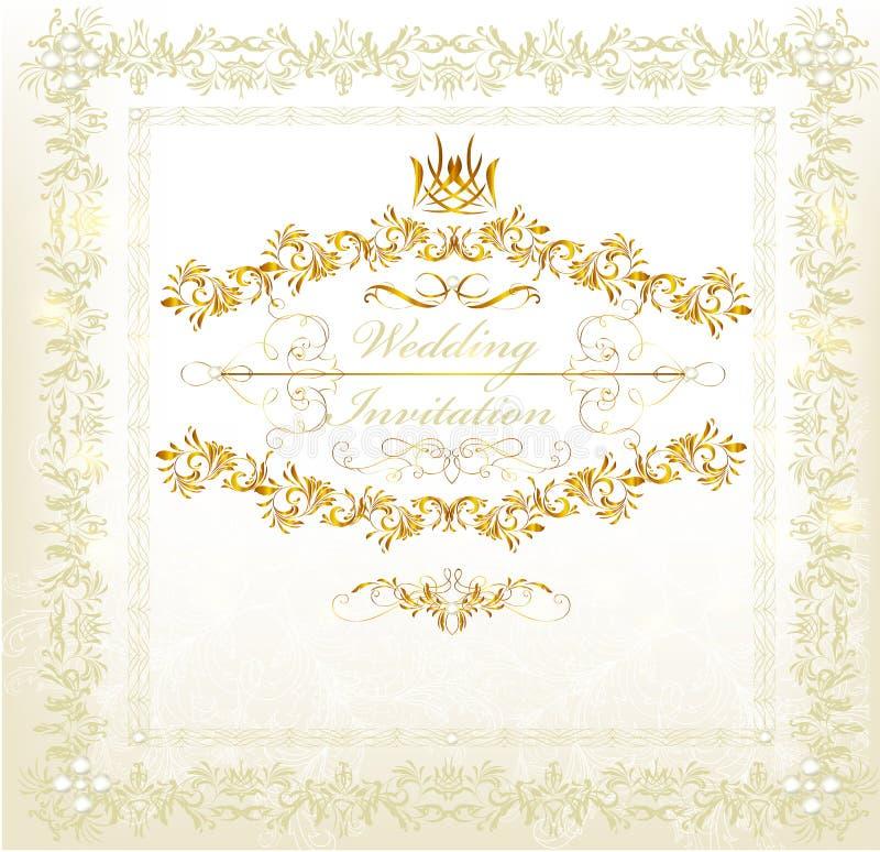 Invitación de boda de la invitación en estilo del lujo de la vendimia libre illustration