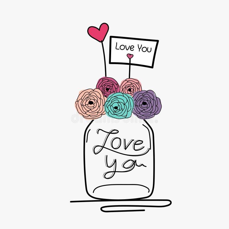 Invitación de boda del drenaje de la mano con la flor Mason Jar stock de ilustración