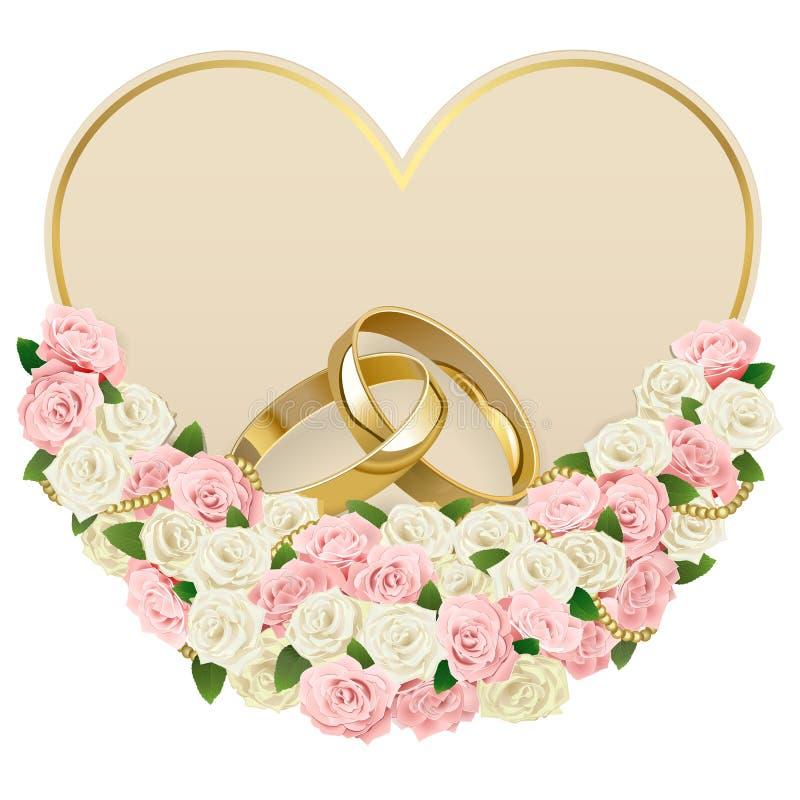 Invitación de boda del vector con los anillos libre illustration