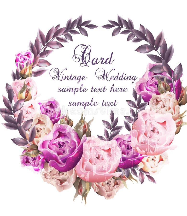 Invitación de boda del vintage con vector de la guirnalda de las rosas Guirnalda hermosa de las flores Decoración elegante 3d rea ilustración del vector
