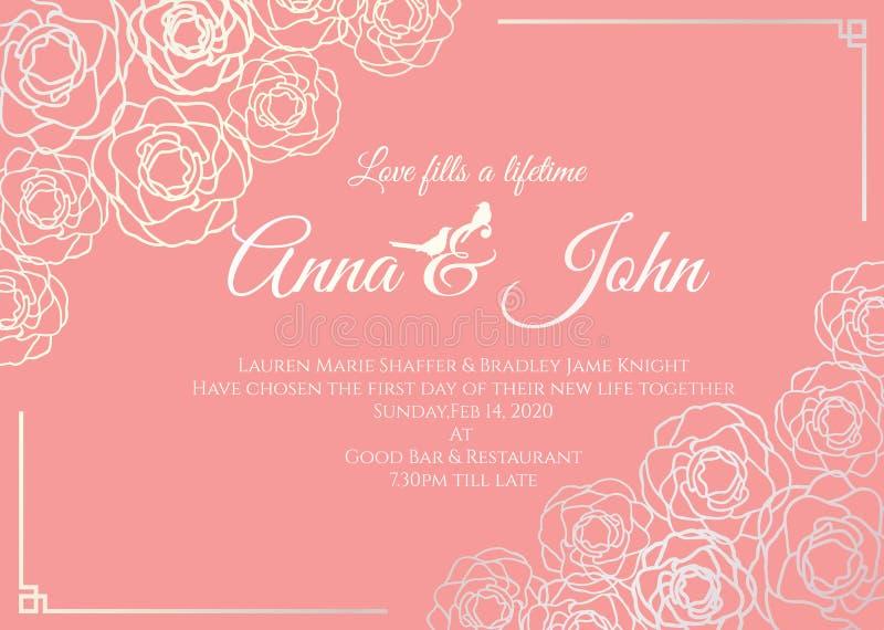 Invitación de boda - el marco floral de la rosa de la plata y la vieja plantilla color de rosa del vector del fondo diseñan stock de ilustración