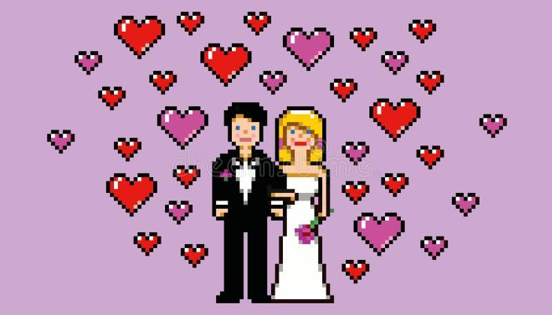 Invitación de boda en vector del estilo del juego del arte del pixel ilustración del vector