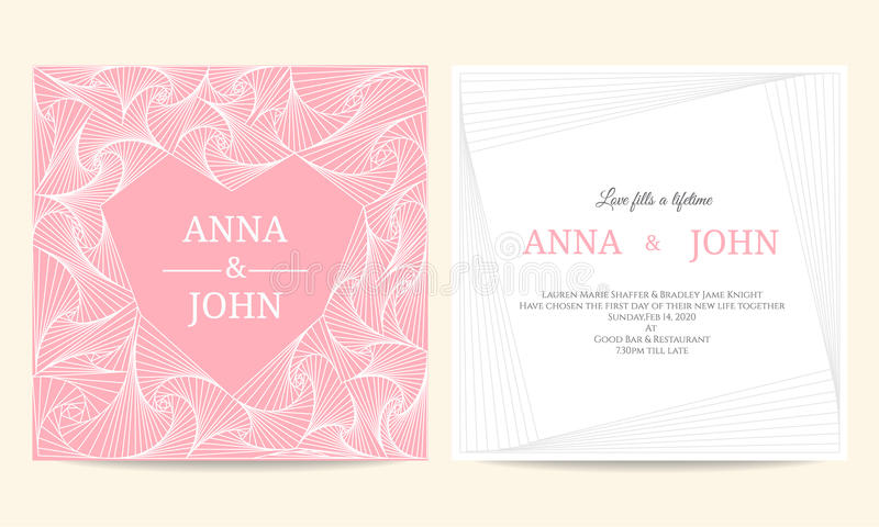 Invitación de boda - línea espiral diseño de la plantilla del vector del vintage del marco del corazón libre illustration