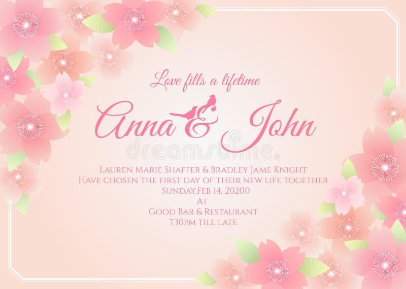 Invitación de boda - marco de la flor de Sakura en diseño rosado suave de la plantilla del vector del fondo stock de ilustración