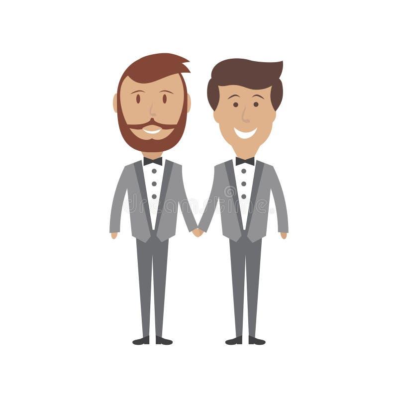 Invitación de boda masculina gay de los pares, ejemplo libre illustration