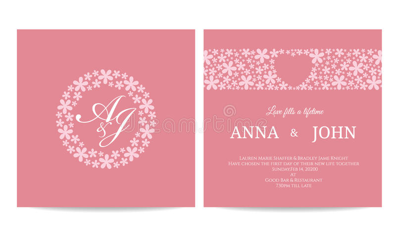 Invitación de boda - nombre el texto en marco del círculo de la flor y el corazón en línea de la flor en diseño rosado de la plan stock de ilustración
