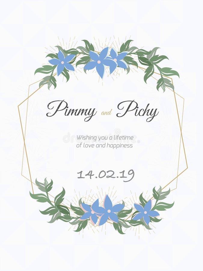 Invitación de boda o invitación que se casa floral stock de ilustración