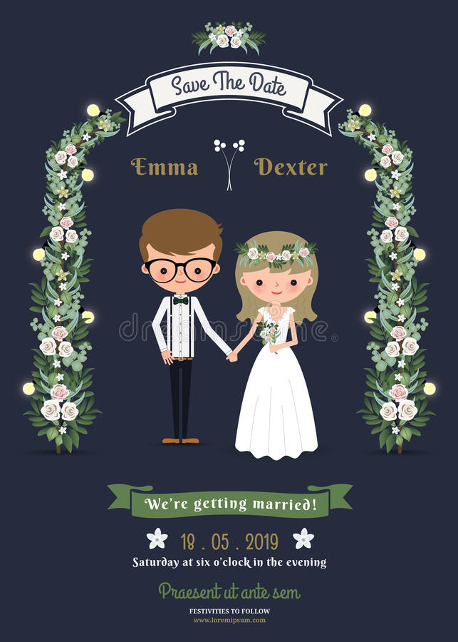 Invitación de boda romántica rústica de los pares de la historieta ilustración del vector