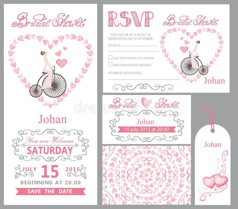 Invitación de la boda Bici del onretro de la novia, decoración rosada imagen de archivo libre de regalías