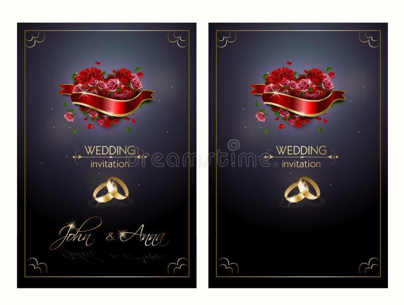 Invitación de la boda con el corazón color de rosa libre illustration