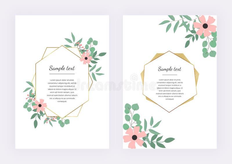 Invitación de la boda con el marco geométrico poligonal, líneas de oro con el eucalipto de las hojas Plantilla botánica del diseñ stock de ilustración