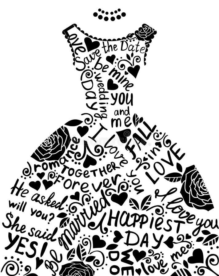 Invitación de la boda con el vestido de boda elegante hermoso. libre illustration
