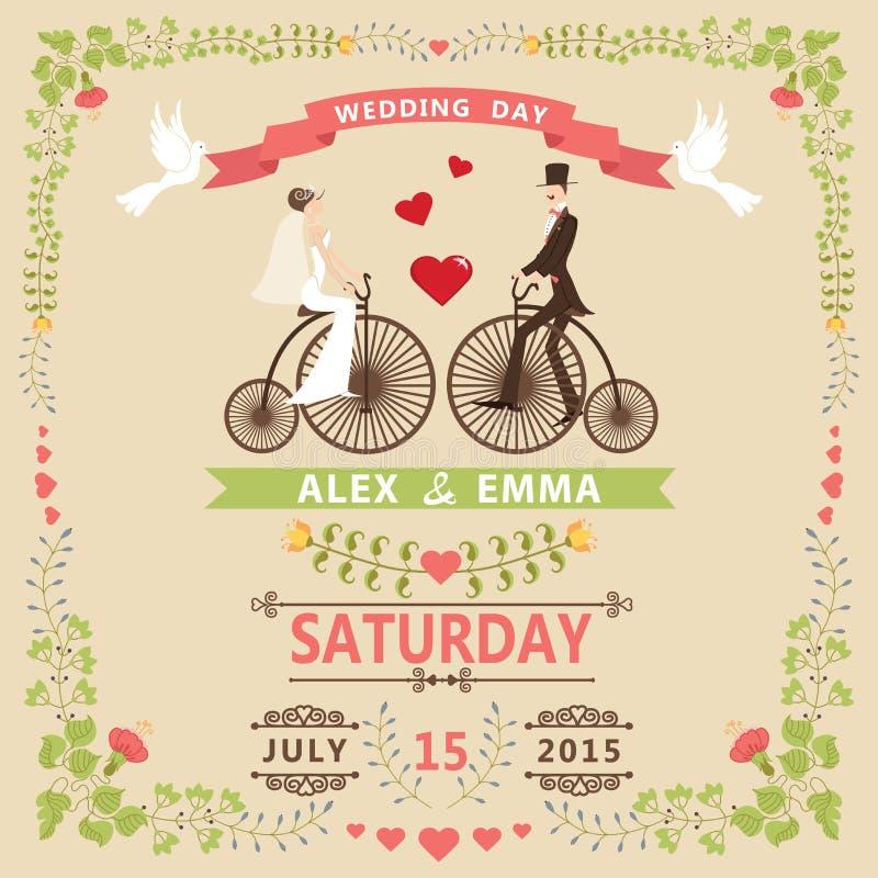 Invitación de la boda con la novia, novio, bicicleta retra, marco floral imagen de archivo