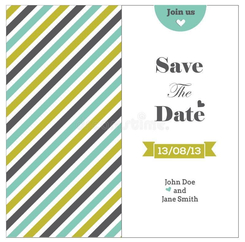 Invitación de la boda con las rayas coloreadas, románticas  stock de ilustración