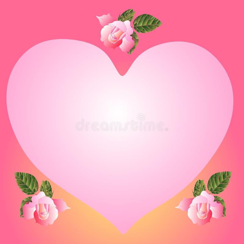 Invitación de la boda con las rosas rosadas Tarjeta del `s de la tarjeta del día de San Valentín stock de ilustración