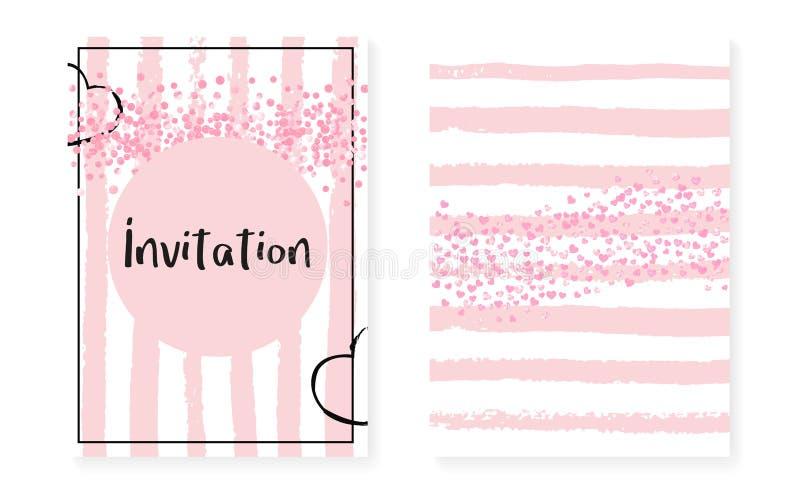 Invitación de la invitación de boda con los puntos y las lentejuelas Sistema nupcial de la ducha libre illustration