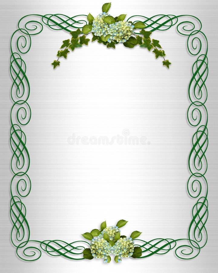 Invitación de la boda de la frontera del Hydrangea de la hiedra ilustración del vector