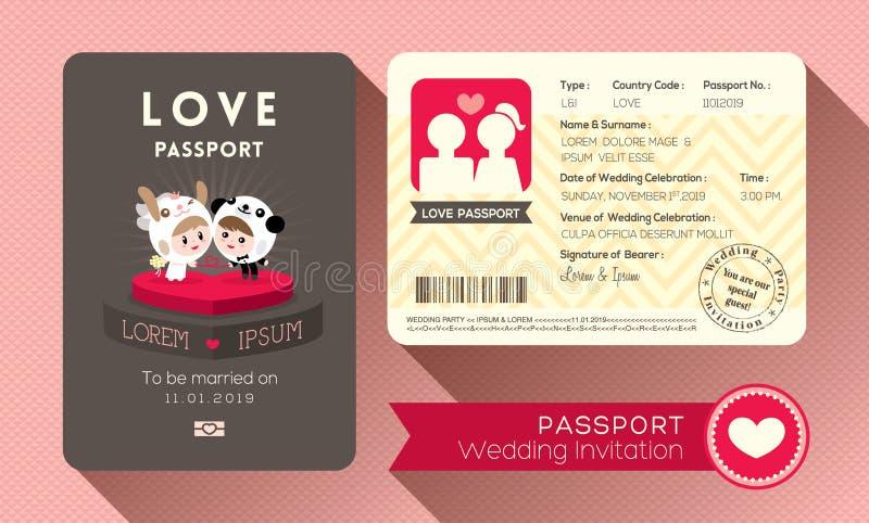 Invitación de la boda del pasaporte ilustración del vector