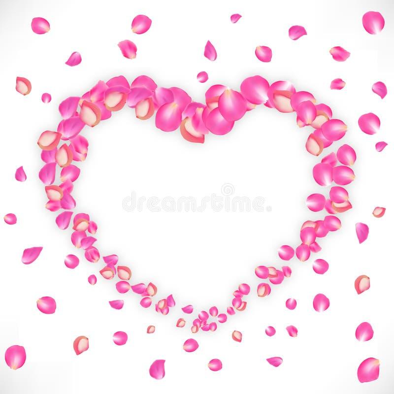 Invitación de la boda del vector Inscripción: Ahorre la fecha Cinta dentro del corazón de pétalos color de rosa en el fondo blanc ilustración del vector