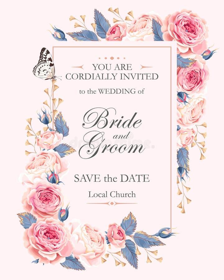 Invitación de la boda del vintage fotos de archivo