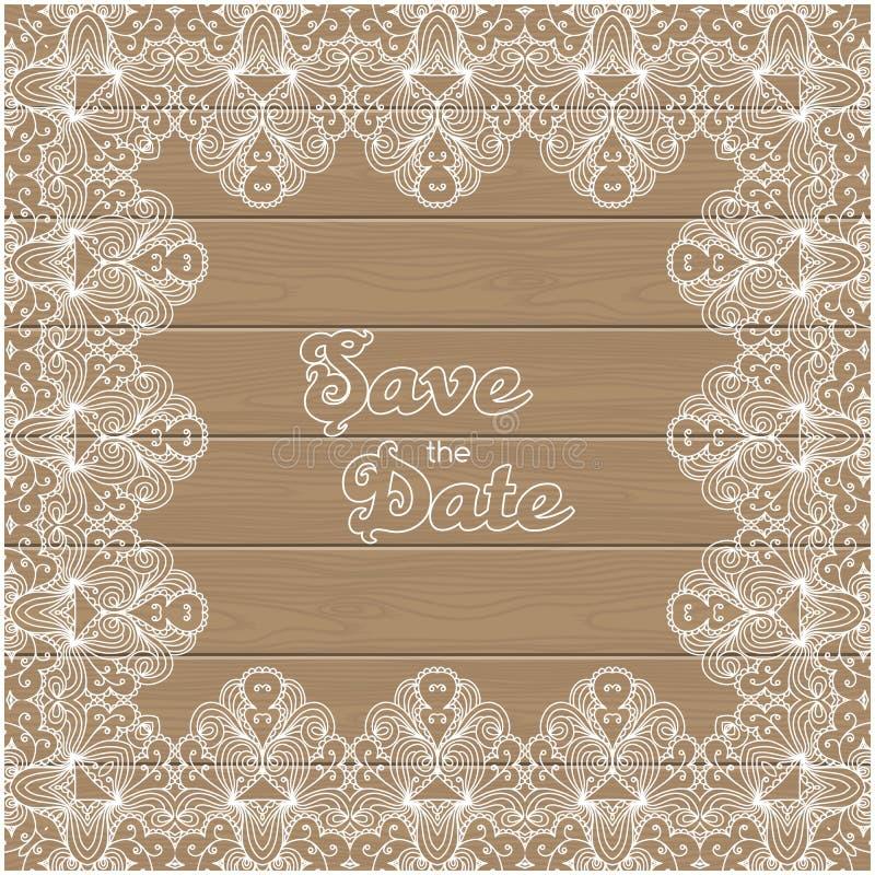 Invitación de la boda del vintage con la frontera del cordón stock de ilustración