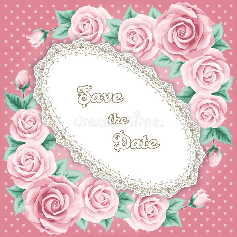 Invitación de la boda del vintage con las rosas stock de ilustración