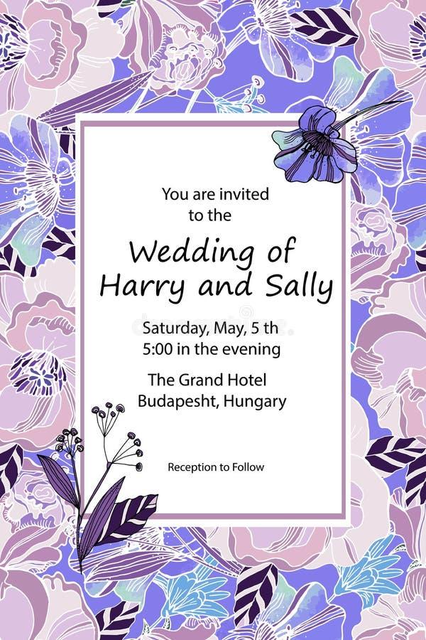Invitación de la boda del vintage Flores dibujadas mano del prado del vector y libre illustration